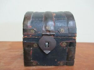 Vintage Miniature Wood Dome Chest Box
