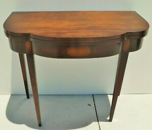 Antique Vtg Solid Mahogany Stenciled Wood Game Card Folding Console Table