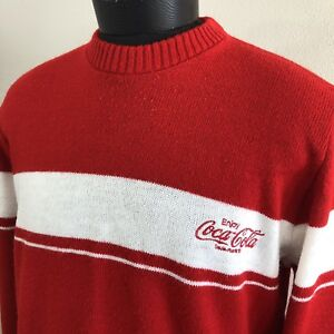 Vintage Coca Cola Sweater Coke Spell Out Acrylic Shirt Embroidered USA Pop Soda