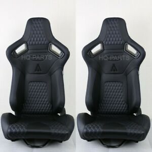 2 Tanaka Premium Black Carbon Pvc Leather Racing Seats Blue Stitch For Mustang