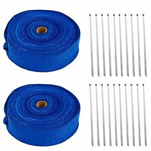 2 Roll X 2 X 50ft Exhaust Header Fiberglass Heat Wrap Tape W 20 Steel Ties Blue