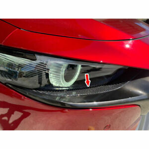 Carbon Fiber Front Light Eyelid Lamp Trim 2019 For Mazda 3 4th 5dr Hatchback