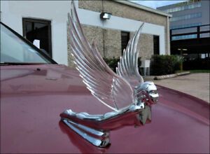 Chrome Flying Goddess Hood Ornament W lighted Clear Wings