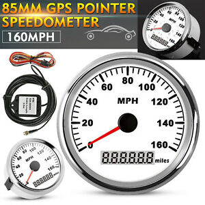 0 160mph 85mm Silver Gps Speedometer Gauge Stainless For Car Truck Motorcycle