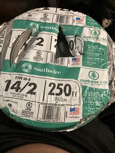 Electrical Cable Wire Outdoor Direct Burial Wet Rated 250 Ft 14 2 Cu Uf B W G