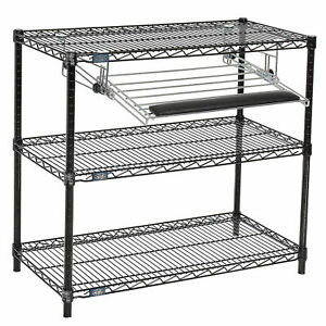Black Wire Shelf Printer Stand With Keyboard Tray 3 shelf 36 w X 18 d X 34 h