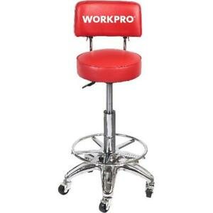 Shop Stool With Adjustable Height Rolling Back Wheels Garage Heavy Duty Work New