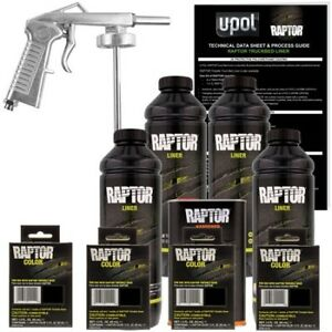 U Pol Raptor Basalt Gray Urethane Spray On Truck Bed Liner W Free Spray Gun 4l