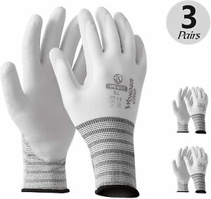 Oil Resistant Work Gloves For Women And Men 3 Pairs xl White Large 10