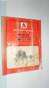 Allis chalmers Model 610 3 Point Chisel Plow Operator s Manual