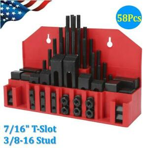7 16 T Slot Clamp Kit 58 Pcs 3 8 16 Stud Hold Down Clamping Machine Mill Drill