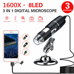 1600x Usb Digital Microscope Camera 8 Led Otg Endoscope Magnification W Stand