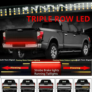 60 Triple Led Tailgate Bar Sequential Turn Signal Pickup Reverse Brake Light