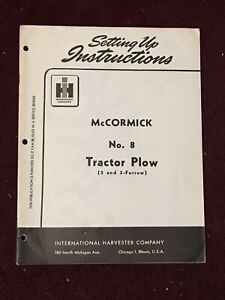 1951 Mccormick No 8 Tractor Plow Setting Up Instructions Manual International