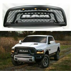 Black Grill Fit For 2009 2012 Dodge Ram 1500 Pickup Hood Grille W 3 Amber Light