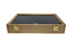 Maple Deluxe Wood Display Case 12 X 18 X 3 For Arrowheads Knifes Collectibles