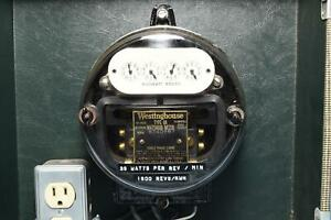Westinghouse Watthour Electric Meter W Glass Dome In Tweed Carry Case