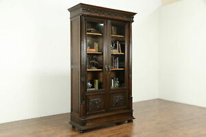 Renaissance Carved Walnut Italian Antique Library Bookcase 33970