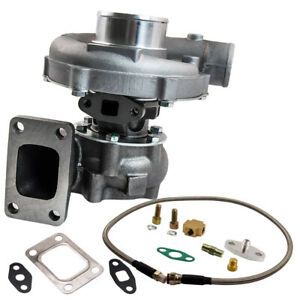 T04e T3 t4 A r 0 63 44 Trim 5 bolt Universal Turbo Charger Kit Oil Feed Line