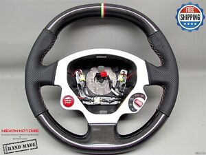 Ferrari F430 Italian Flag Ring Perforated Flat Thicker Carbon Steering Wheel V2
