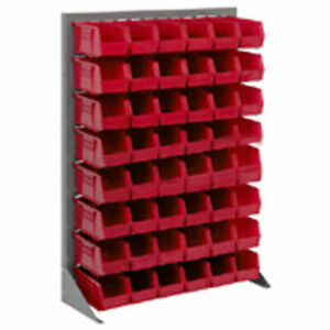 Louvered Bin Rack With 42 Red Stacking Bins 35 w X 15 d X 50 h