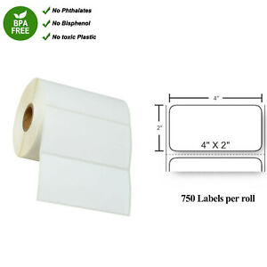 Thermal Transfer Shipping Paper 750 Labels Per Roll 4 X 2 For Zebra 4x2