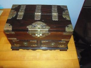Vintage Wooden Box Asian With Brass Accents