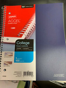 Staples Accel 1 subject Notebook 8 5 X 11 College Ruled 100 Sheets 919356