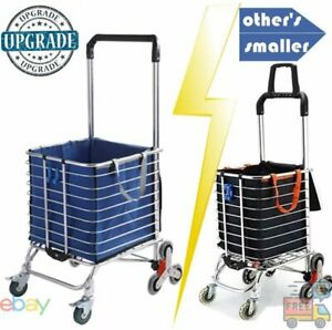 Hereinway Foldable Cart Stair Climb Swivel Wheel Waterproof Removable Bag Blue