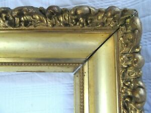 Antique Fits 6x8 Gold Gilt Picture Frame Deep Cove Ornate Wood Gesso Fine Art