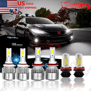 6x White 6000k Led Kit Headlight Fog Light Bulbs Combo For Honda Civic 2016 2019