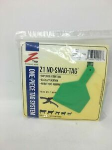 Z1 No Snag Tags Cow Blank Green Tags 25 Ct