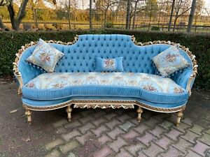 French Louis Xvi Hand Carved Solid Wooden Sofa