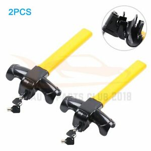 2pcs Auto Car Steering Wheel Lock Yellow Anti theft Towing With 4 Keys