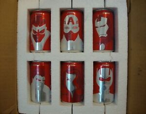 LIMITED EDITION COLLECTOR COMMEMORATIVE MARVEL AVENGERS COCA COLA COKE CANS SET