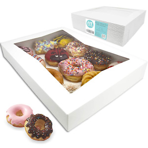 18 Pack 16x12x2 25 White Bakery Box With Window Holds 12 Donuts Auto pop