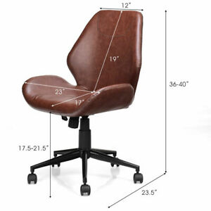 Office Home Leisure Chair Mid back Upholstered Swivel Height Adjustable Rolling