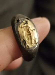 Ancient Roman Intaglio Gold And Silver Ring Size 7