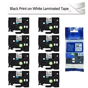 8pk Black On White Label Tape Tze251 For Brother P touch Pt 2730vp P900w 540 1