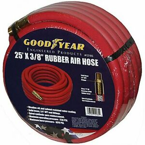 Goodyear Air Hose 12185 Red Rubber Air Hose 25 X 3 8 Weather Oil And Solvent Res