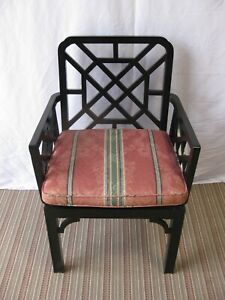 Vintage Black Oriental Style Wicker Seat Occasional Chair
