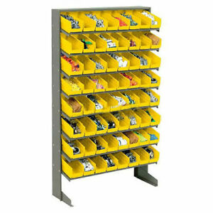 Floor Rack 8 Shelves W 64 4 w Yellow Bins 33x12x61