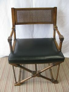 Unbraded Campaign Style Cane Back Chair With Vinyl Seat