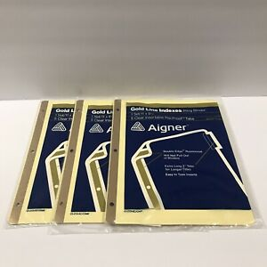 Lot Of 3 Vintage Avery Aigner Gold Line Ring Binder Indexes Clear Tabs 11 X 8 5