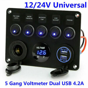 5 Gang On off Toggle Switch Panel Usb 12 24v For Car Boat Marine Rv Truck Camper