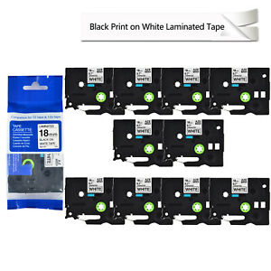 10pack For Brother Pt1830c Tze 241 Tz 241 P touch Label 18mm Black On White Tape