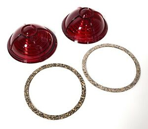 Pair Red Tail Light Lenses Gaskets For 1937 Ford Tail Lights Zephyr Style