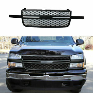Grill Fits For 05 07 Silverado 1500 2500hd 3500 Bumper Grille Matte Black A