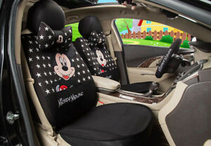 1 Sets Car Seat Covers New Cute Mickey Mouse Universal Four Seasons Black Star