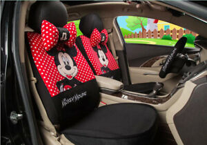 1 Sets Car Seat Covers New Cute Mickey Mouse Universal Four Seasons Red Balck